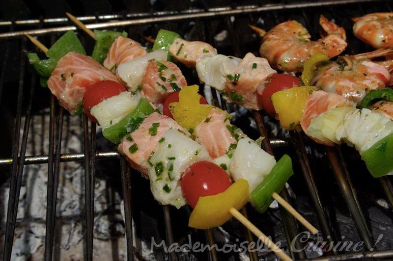 brochettes de poisson au barbecue